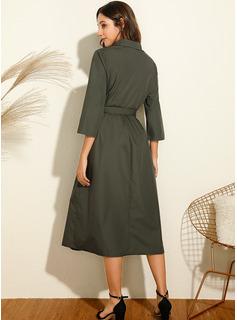 Solid Kjole med A-linje Lange ærmer Midi Casual Skjorte Mode kjoler