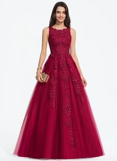 Balklänning/Prinsessa Rund-urringning Sweep släp Tyll Bröllopsklänning med Beading