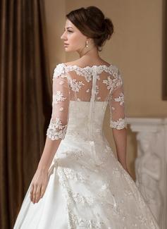 Ball-Gown/Princess Illusion Court Train Satin Wedding Dress With Ruffle