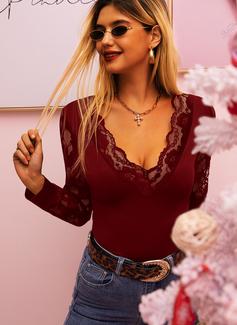 Spitze Einfarbig V-Ausschnitt Lange Ärmel Elegant Blusen