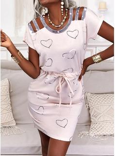 Impresión Corazón Ajustado Manga Corta Mini Casual Vestidos de moda