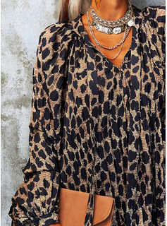 Leopard Etuikleider Lange Ärmel Mini Lässige Kleidung Tunika Modekleider