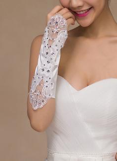 Кружева/Атлас локоть длина Свадебные перчатки с Вышито