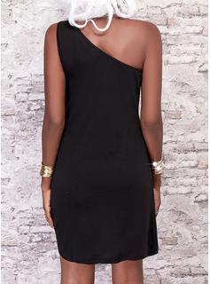 Sólido Vestidos sueltos Sin mangas Mini Pequeños Negros Casual Vacaciones Vestidos de moda