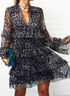 Leopard Skiftekjoler Flare-ærmer Lange ærmer Mini Elegant Mode kjoler