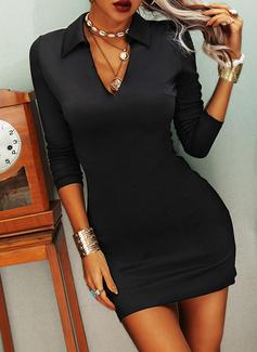 固体 シースドレス 長袖 ミニ リトルブラックドレス カジュアル ファッションドレス