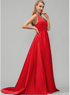A-Line V-neck Sweep Train Satin Prom Dresses With Split Front