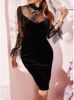 Lace Solid Bodycon Long Sleeves Mini Little Black Party Dresses
