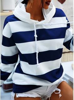 カラーブロック 縞模様の パーカー 長袖