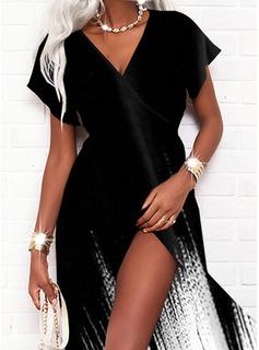 Print Gradient Kjole med A-linje Korte ærmer Maxi Casual Ferie skater Mode kjoler