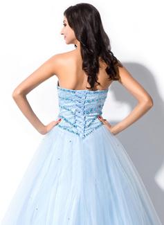 Corte de baile Novio Hasta el suelo Tul Vestido de quinceañera con Cuentas Lentejuelas