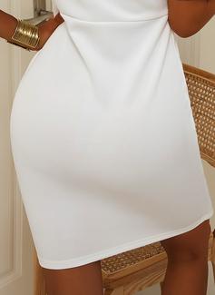 Solid Åtsittande Korta ärmar Midi Fritids Penna Modeklänningar