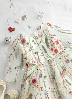 Balowa/Księżniczka Do Kolan Sukienka dla Dziewczynki Sypiącej Kwiaty - Koronka Długie rękawy Okrągły/ głęboko wycięty