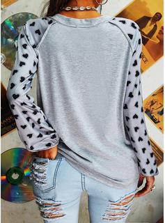 Print Sequins V-Neck Long Sleeves Casual T-shirt