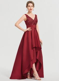 A-Line V-neck Asymmetrical Satin Prom Dresses