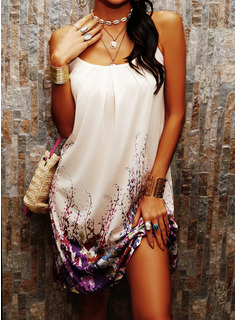 Print Shift Sleeveless Mini Casual Sexy Vacation Type Dresses