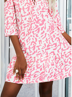 Impresión Vestidos sueltos Mangas 1/2 Mini Casual Túnica Vestidos de moda