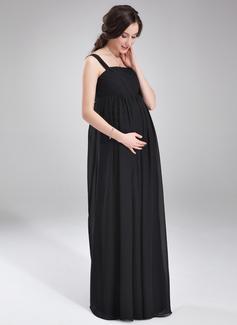 Robe Empire Encolure carrée Longueur ras du sol Mousseline Robe de demoiselle d'honneur - enceinte avec Plissé