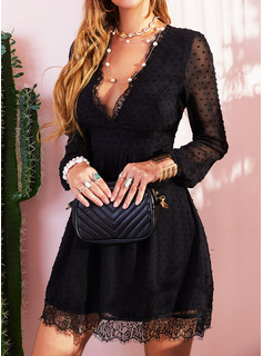 Lace Solid V-Neck Long Sleeves Mini Dresses