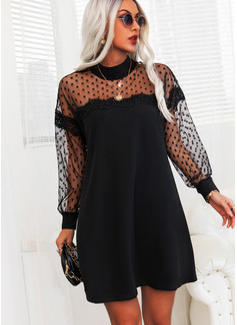 Pizzo A pois Solido Abiti dritti Maniche lunghe Mini Piccolo nero Elegante Tunica Vestiti di moda