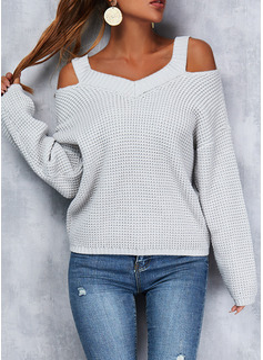 Cuello en V Casual Sólido Suéteres