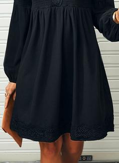 Pizzo Solido Abiti dritti Maniche lunghe Mini Piccolo nero Casuale Tunica Vestiti di moda