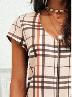 Tela escocesa Vestidos sueltos Manga Corta Mini Casual Túnica Vestidos de moda