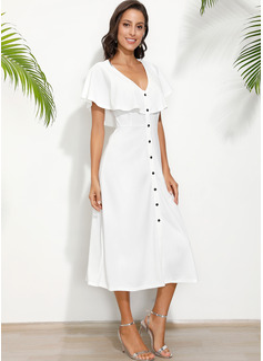 Midi V-Ausschnitt Polyester Knopf/Einfarbig Kurze Ärmel Modekleider