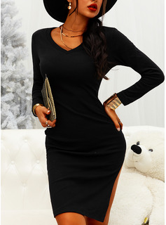 Solid Bodycon Long Sleeves Midi Little Black Casual Pencil Dresses