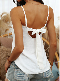 Blonder Solid Spaghetti Ærmeløs Button-up Casual Tank tops