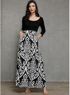 Maxi Cuello redondo poliéster Impresión/Arruga Mangas 3/4 Vestidos de moda