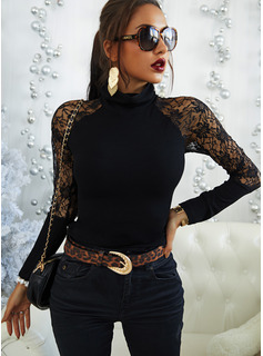 Lace Solid High Neck Long Sleeves Casual Elegant Blouses
