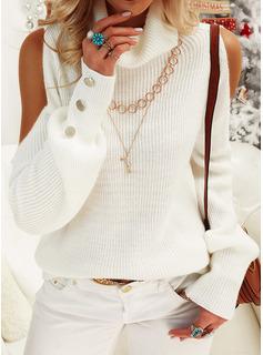 Cold Shoulder Rollkragen Lässige Kleidung Einfarbig Pullover