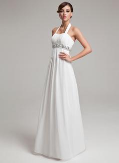 Império Cabresto Longos Tecido de seda Vestido de noiva com Pregueado Beading lantejoulas