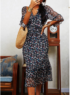 Floral Print Shift 1/2 Sleeves Midi Casual Tunic Dresses