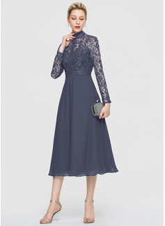 A-Line High Neck Tea-Length Chiffon Cocktail Dress