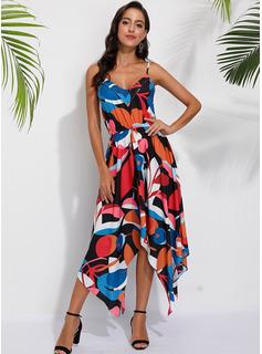 Medium V-hals Polyester Print Uden Ærmer Mode kjoler