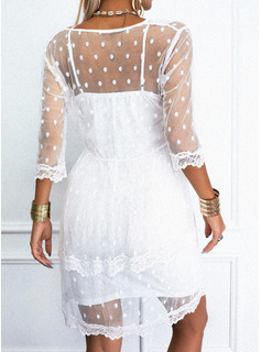 レース 固体 シフトドレス 3/4袖 ミニ カジュアル チュニック ファッションドレス