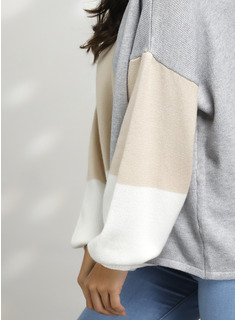 Trozos de color poliéster Cuello redondo Suéter Suéteres