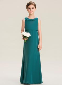 A-Line Cowl Neck Floor-Length Chiffon Junior Bridesmaid Dress With Ruffle