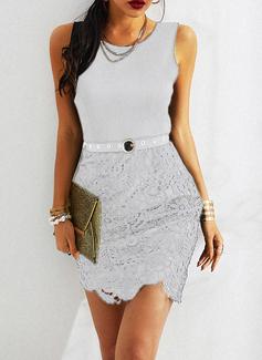 レース ボディコンドレス ノースリーブ ミディ リトルブラックドレス カジュアル エレガント ファッションドレス