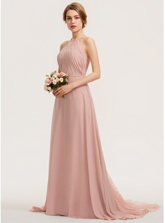 A-Line Scoop Neck Sweep Train Chiffon Lace Prom Dresses With Ruffle