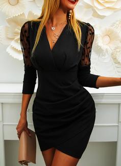 Polkaprik Solid Bodycon Lange ærmer Puf-ærmer Mini Den lille sorte Party Elegant Mode kjoler