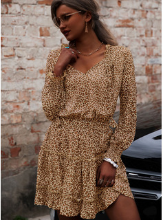 Leopard A-line Long Sleeves Mini Casual Skater Dresses