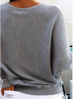 One-Shoulder Fritids Solid Tröjor