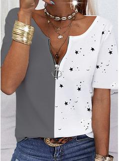 Trozos de color Impresión Cuello en V Manga Corta Casual Blusas
