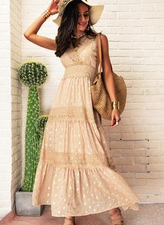 Spitze Gepunktet A-Linien-Kleid Ärmellos Maxi Lässige Kleidung Urlaub Skater Modekleider