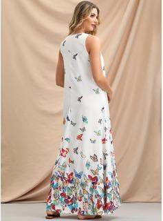Szyfon Z Wydrukować Maxi Sukienka