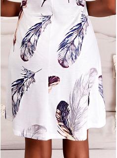Impresión Vestido línea A Sin mangas Mini Casual Patinador Tipo Vestidos de moda
