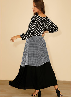 Maxi Cuello redondo poliéster Costura/Lunares/Tela escocesa Mangas 3/4 Vestidos de moda